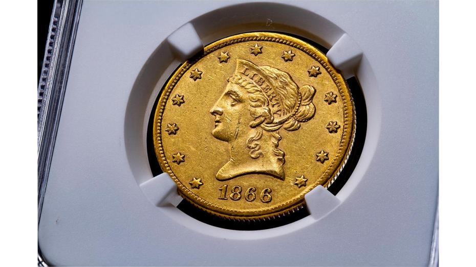 1866-S No Motto Type 1 Liberty Head Gold Eagle NGC AU55 #4483546-003