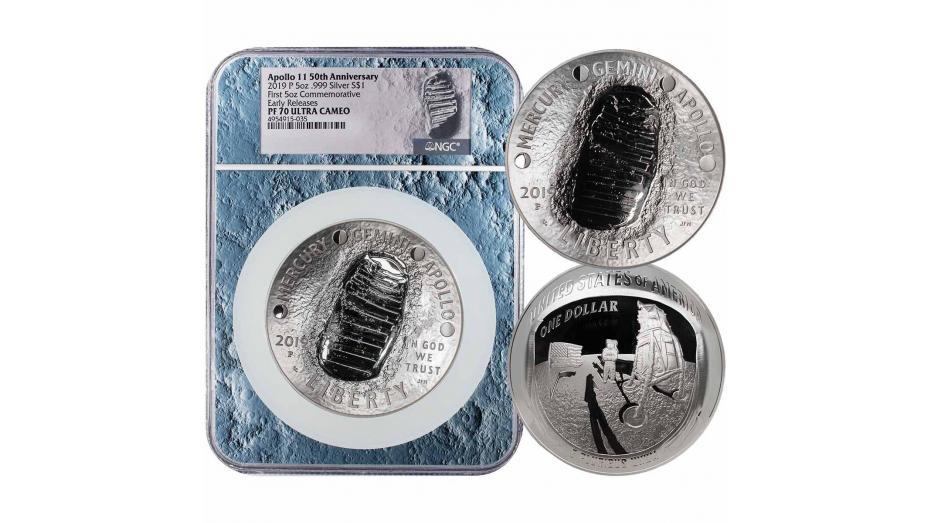 2019-P Moon Core 5oz Silver Apollo 11 50th Anniversary Commemorative Dollar PF70 Early Release