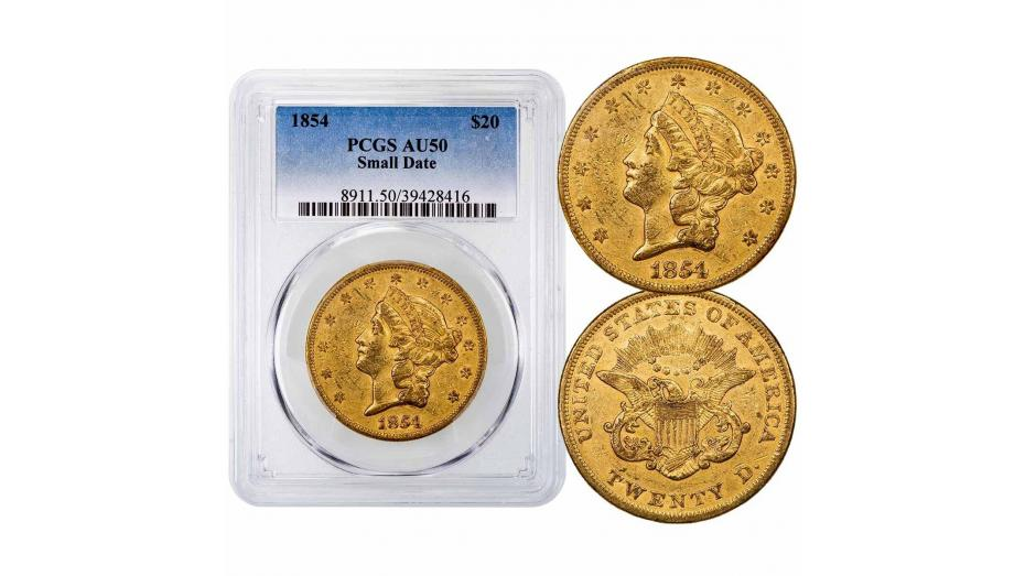 1854-P Small Date Liberty Head Gold Double Eagle NGC/PCGS AU50