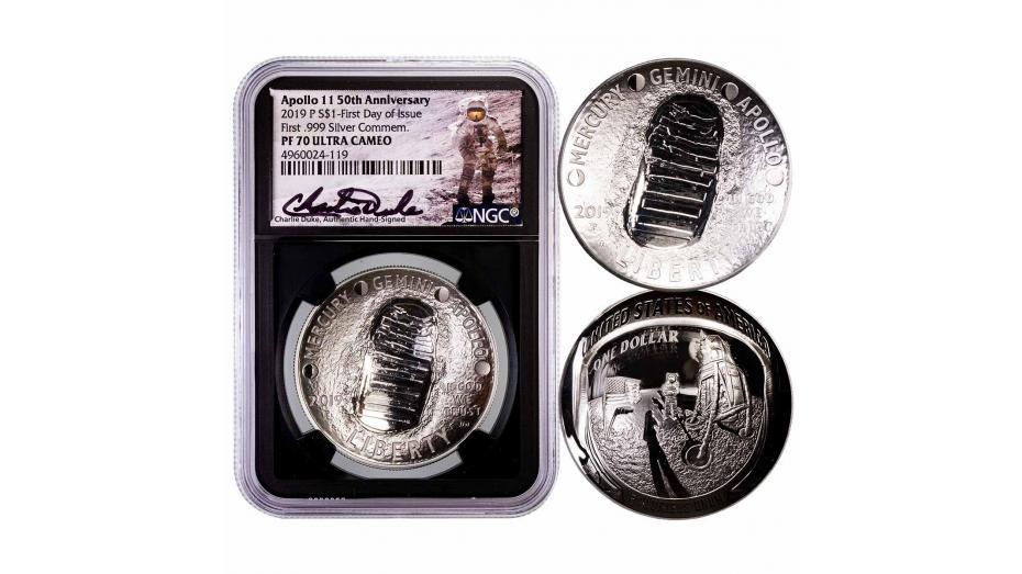 2019 Apollo 11 Commemorative Silver Dollar FDOI NGC PF70 Ultra Cameo Charlie Duke Signature