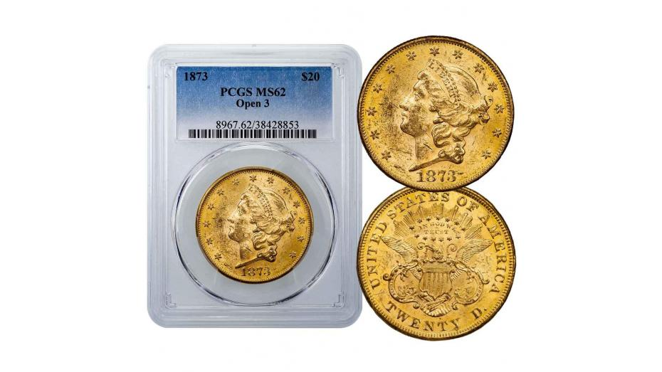 1873-P Type 2 Open 3 Liberty Head Gold Double Eagle PCGS NGC MS62