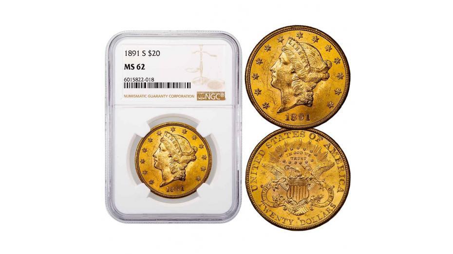 1891-S Liberty Head Gold Double Eagle NGC PCGS MS62