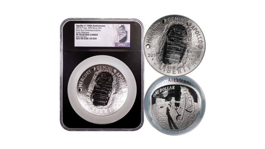 2019-P Black Core 5oz Silver Apollo 11 50th Anniversary Commemorative Dollar ER NGC PF70UCAM