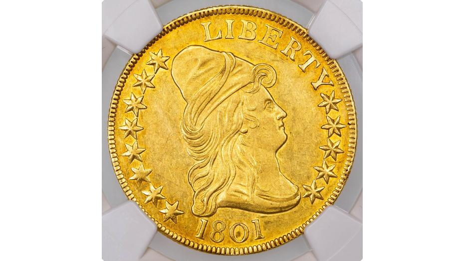 1801 Capped Bust, Facing Right Gold Eagle NGC AU58 CAC