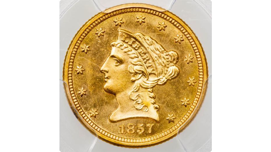 1857-D Liberty Head Quarter Eagle MS64