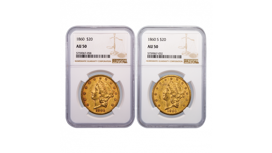Set of 2 1860-P and 1860-S Gold Double Eagle AU50