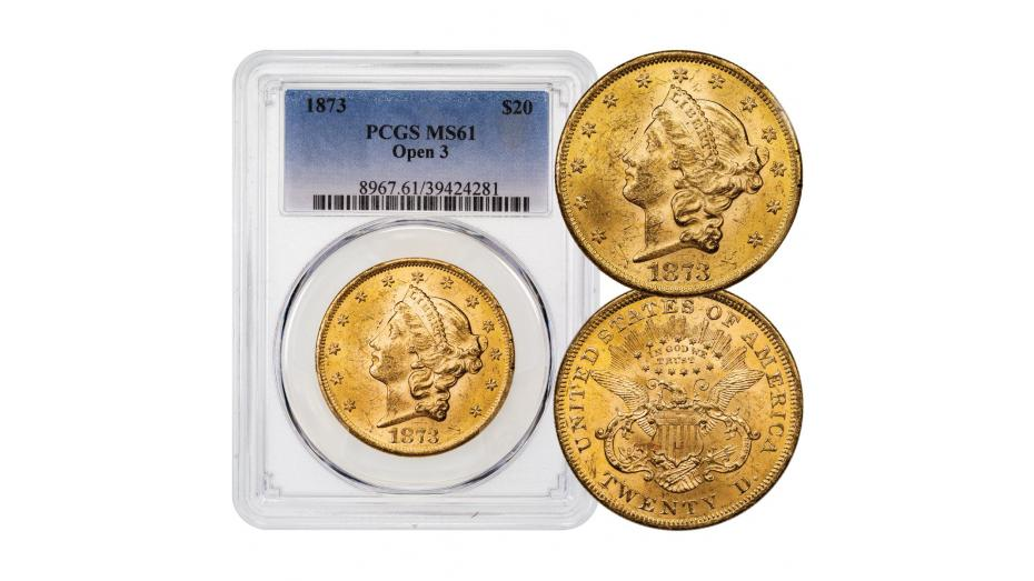 1873-P Type 2 Open 3 Liberty Head Gold Double Eagle PCGS MS61