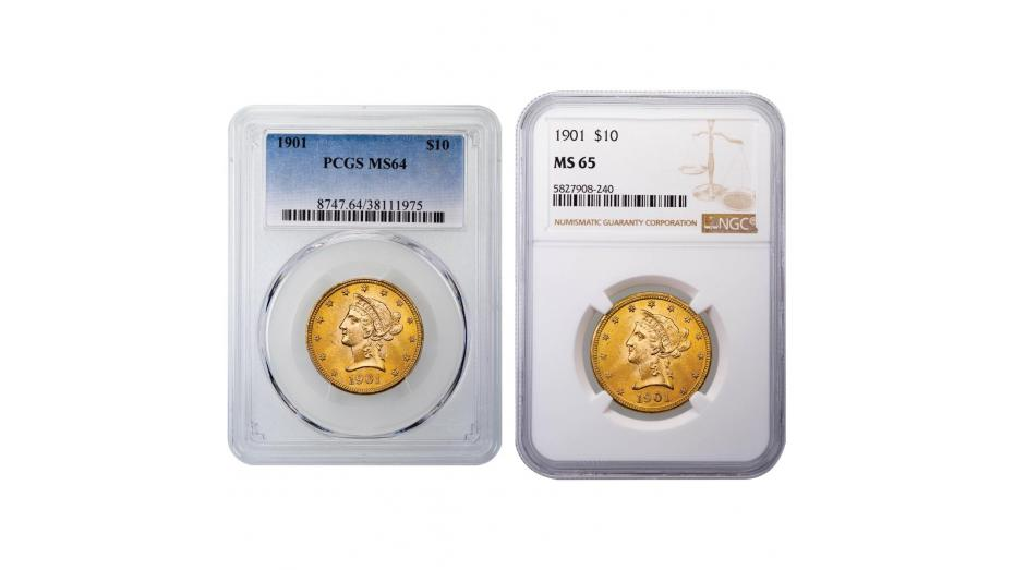 1901-P Liberty Head Gold Eagle MS64 and MS65
