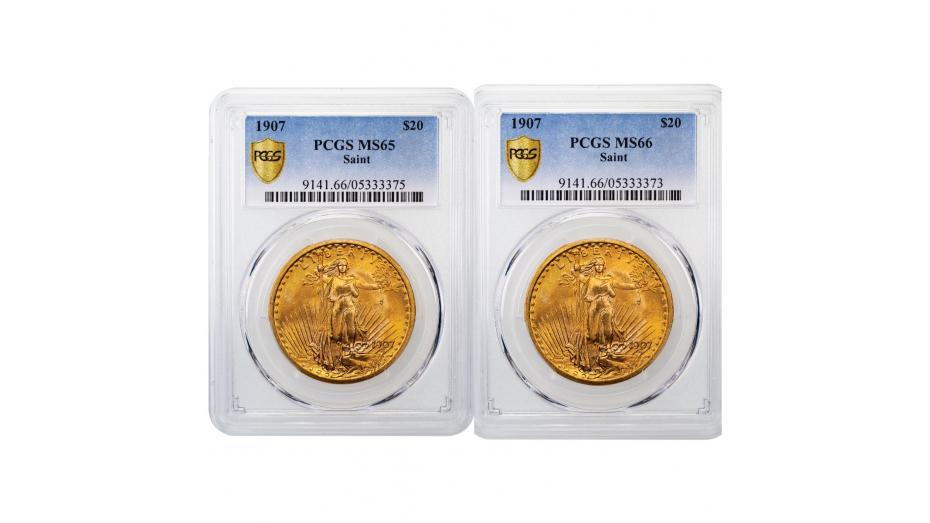 1907 NM Saint Gaudens Gold Double Eagle MS65 & MS66