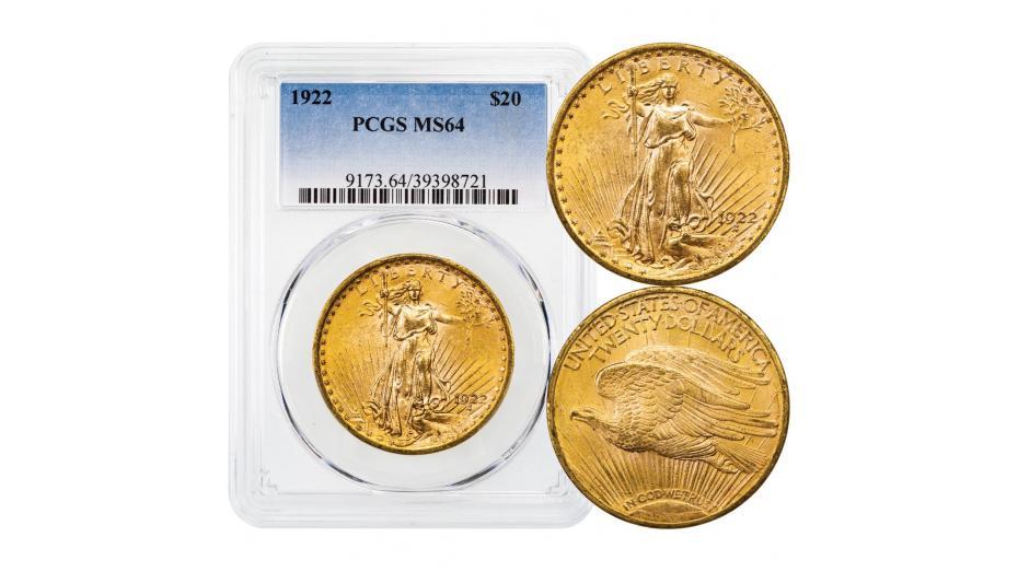 1922-P Saint-Gaudens Gold Double Eagle PCGS/NGC MS64
