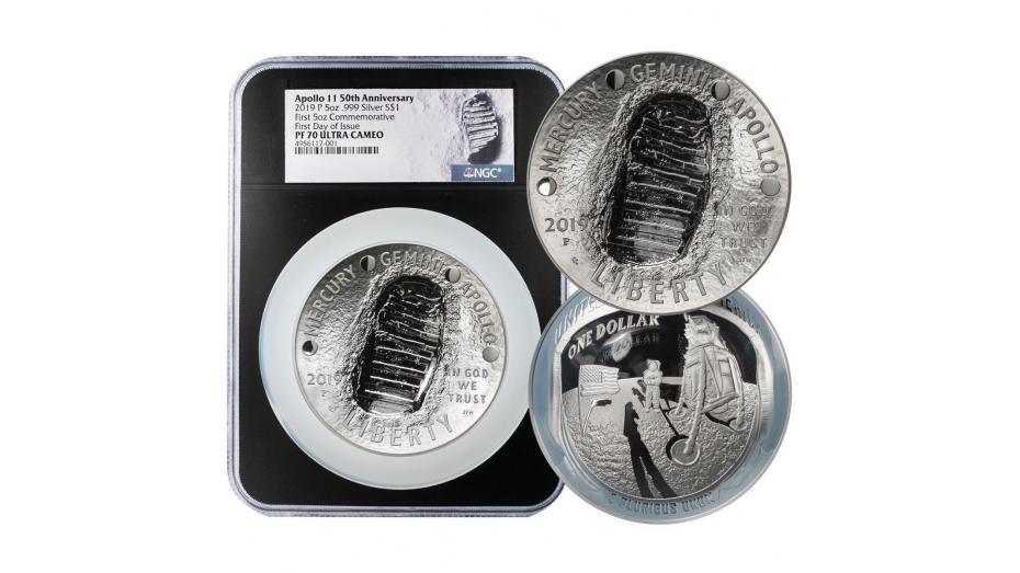 2019-P Black Core 5oz Silver Apollo 11 PF70