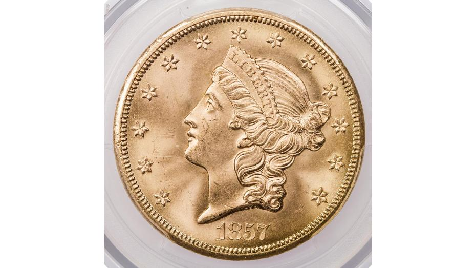 1857-S SS Central America Liberty Head Gold Double Eagle MS65