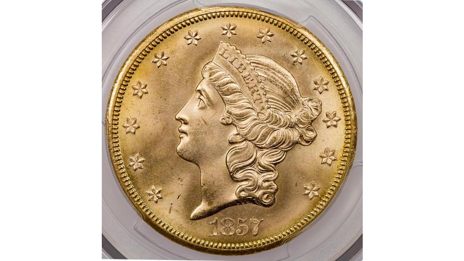 1857-S SS Central America Liberty Head Gold Double Eagle MS66