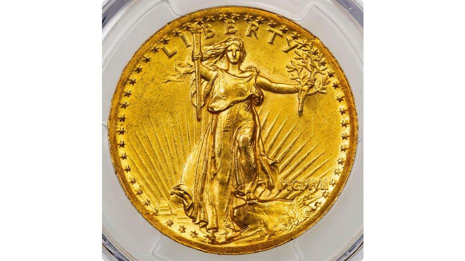 1907 High Relief Wire Rim Saint-Gaudens Gold Double Eagle MS62