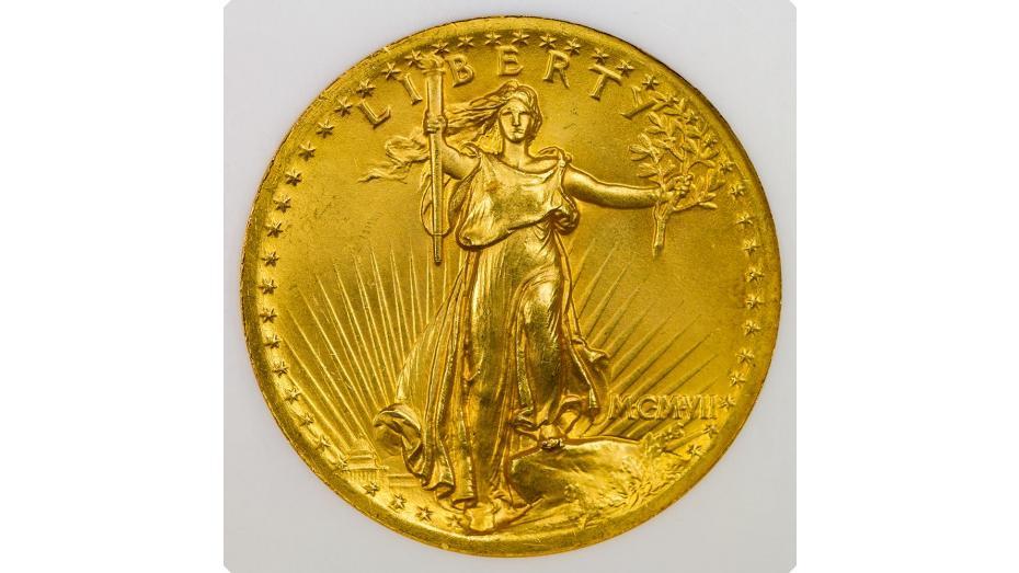 1907 High Relief Wire Rim Saint Gaudens Gold Double Eagle PCGS MS65
