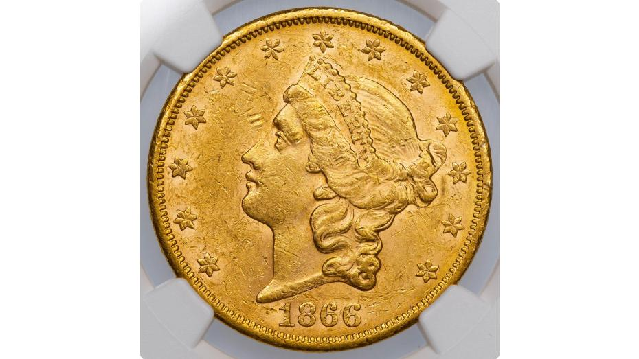 1866-S Liberty Head Gold Double Eagle MS60