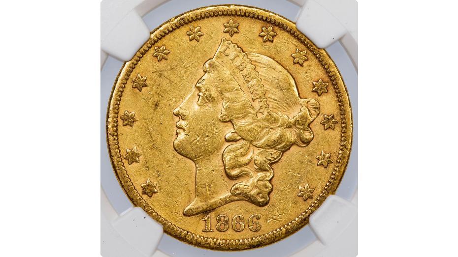 1866-S Type 1 No Motto Liberty Head Gold Double Eagle AU53
