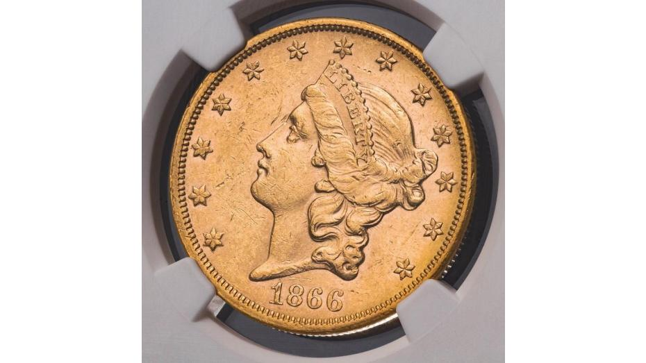 1866-S NM Liberty Head Gold Double Eagle NGC MS61