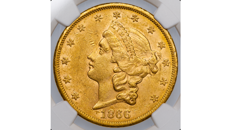 1866-S No Motto Type 1 Liberty Head Gold Double Eagle NGC MS60
