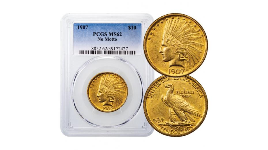 1907-P Indian Head Gold Eagle No Motto PCGS/NGC MS62