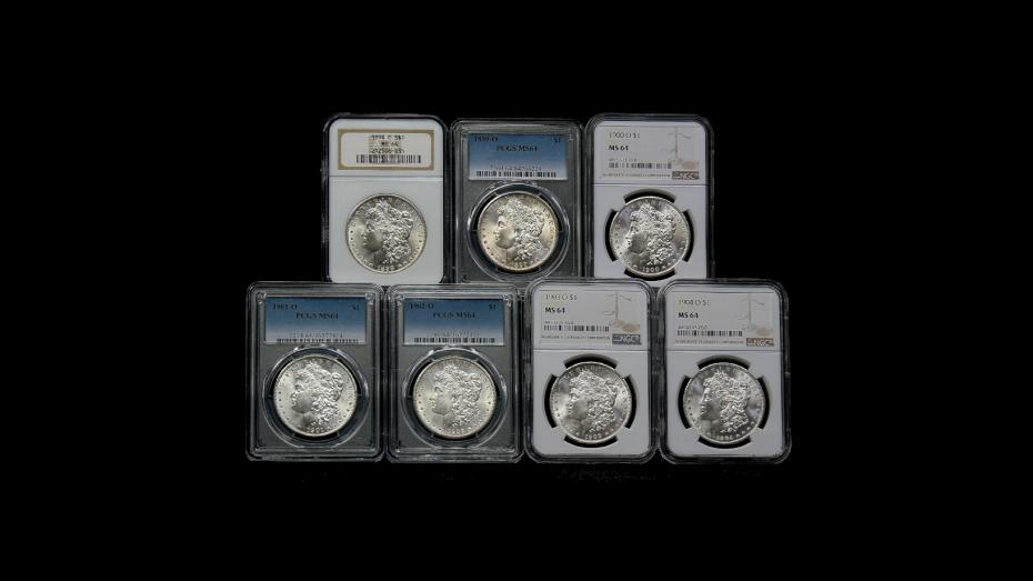 Set of 7: 1898-O - 1904-O Morgan Dollars MS64