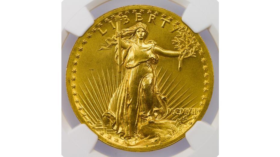 1907 High Relief Wire Rim Saint-Gaudens Gold Double Eagle MS66