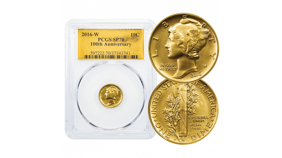 2016-W Gold Mercury Dime PCGS SP70