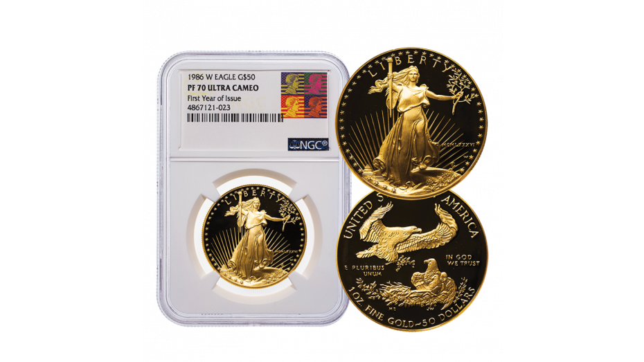 1986 1oz American Gold Eagle NGC PF70 UCAM Reagan Label