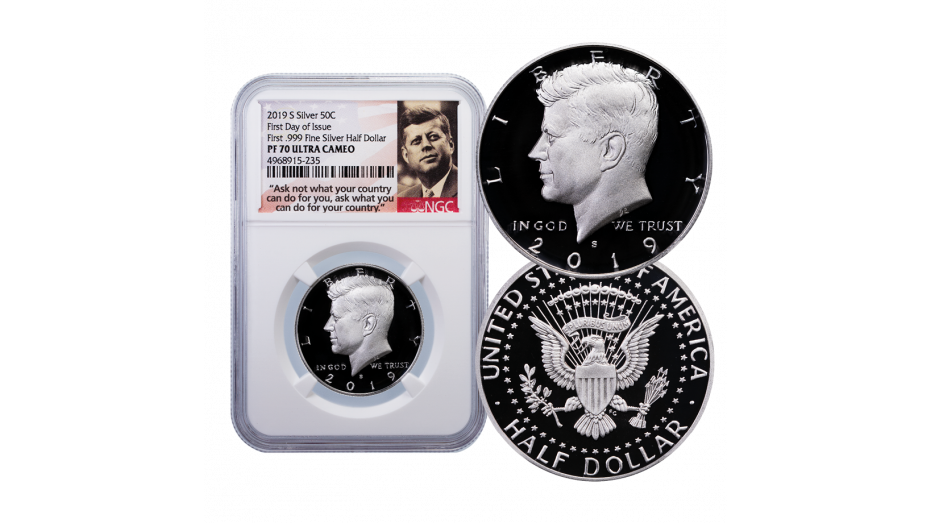 2019-S .999 Silver Kennedy Half Dollar NGC/PCGS PF70 UCAM First Day of Issue