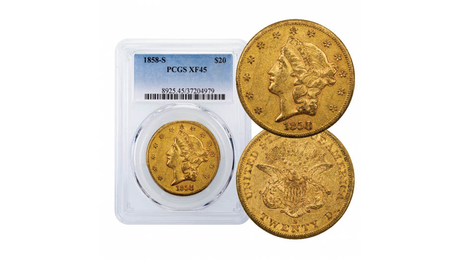 1858-S T1 Gold Double Eagle XF45