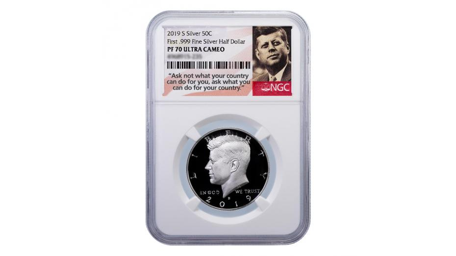 2019-S .999 Silver Kennedy Half Dollar PF70 UCAM First Year of Issue