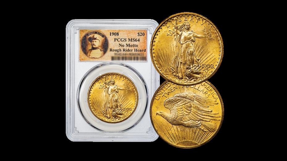 1908-P No Motto Gold Double Eagle MS64