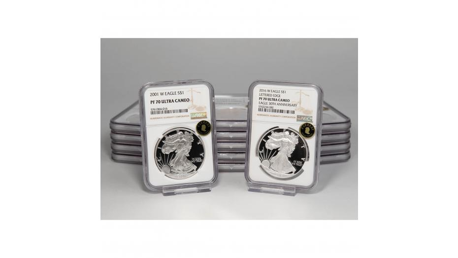 Set of 15: 2001-W - 2016-W West Point Mint American Silver Eagles PF70 Ultra Cameo EVEREST