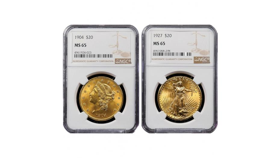 Set of 2: 1904-P Liberty Head and 1927-P Saint Gaudens MS65