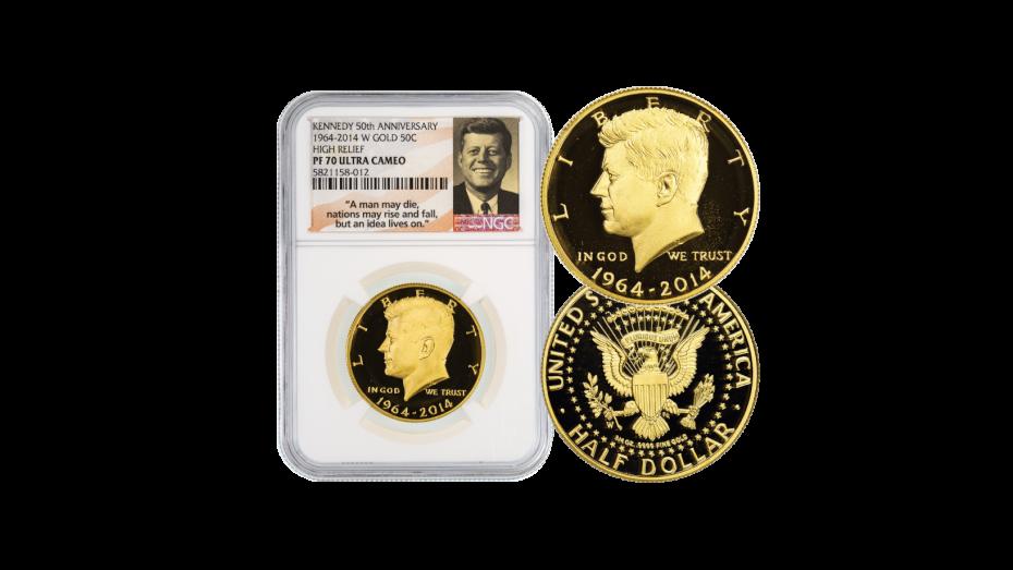 2014-W 3/4oz Gold Kennedy Half Dollar PF70
