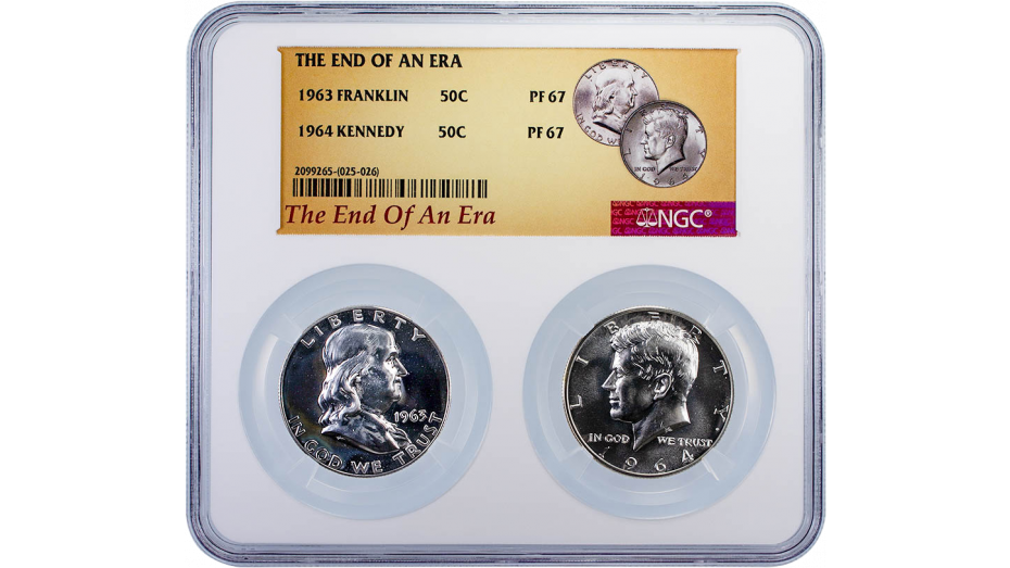 End of Era Set 1963 Franklin and 1964 Kennedy PF67
