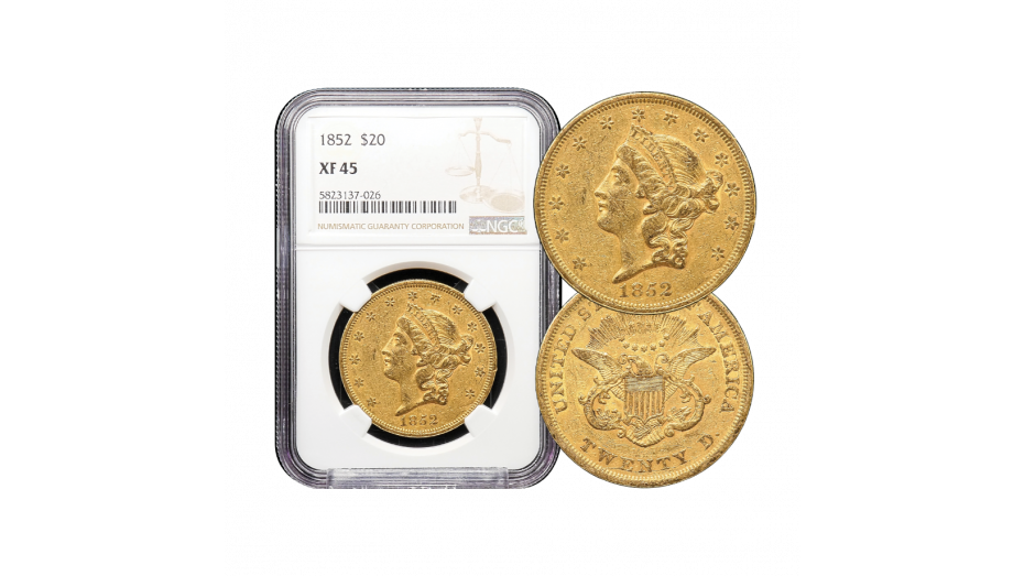 1852-P Gold Double Eagle XF45