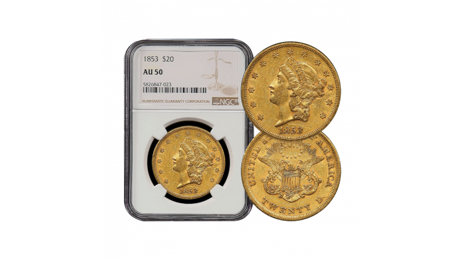 1853-P T1 Liberty Head Gold Double Eagle NGC PCGS AU50
