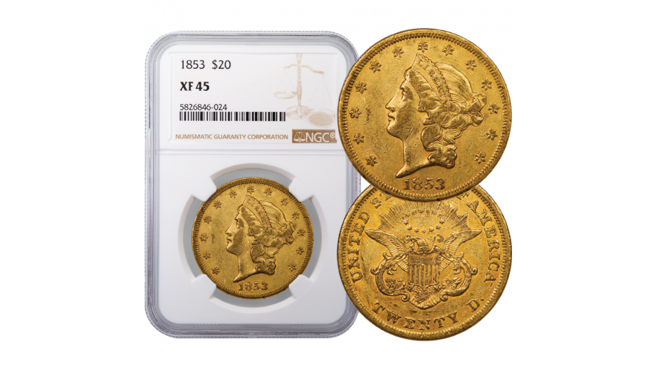 1853-P Liberty Head Gold Double Eagle NGC PCGS XF45