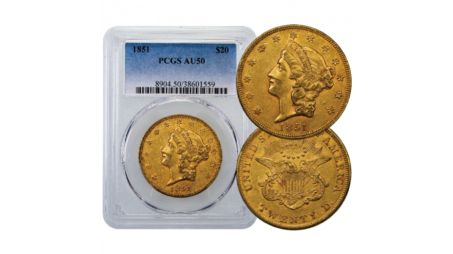 1851-P Liberty Head Gold Double Eagle NGC PCGS AU50