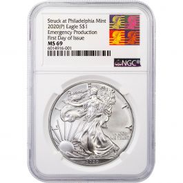 2020 $1 American Silver Eagle NGC MS69 Emergency Production Brown Label S
