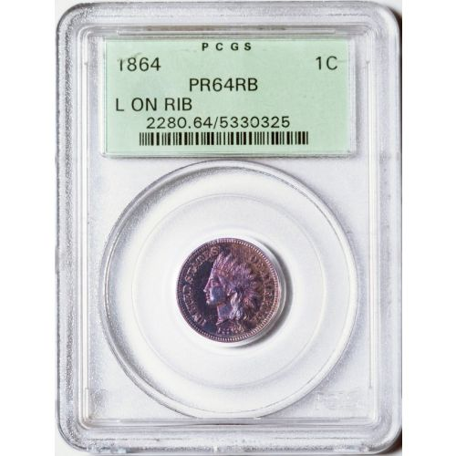 1864 Indian Head Cent PCGS MS64RB