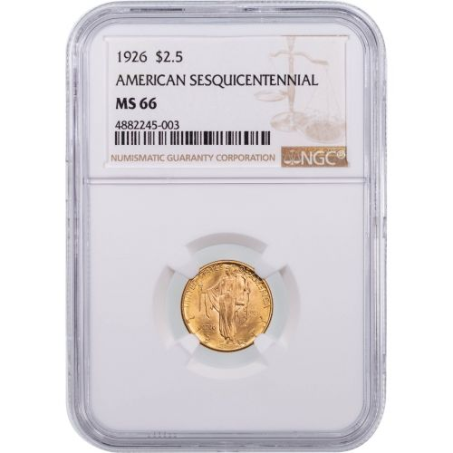 $2.5 1926 Sesquicentennial Gold Commemorative Coin MS66