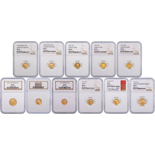 Set of 11: Classic Gold Commemorative Coins MS66