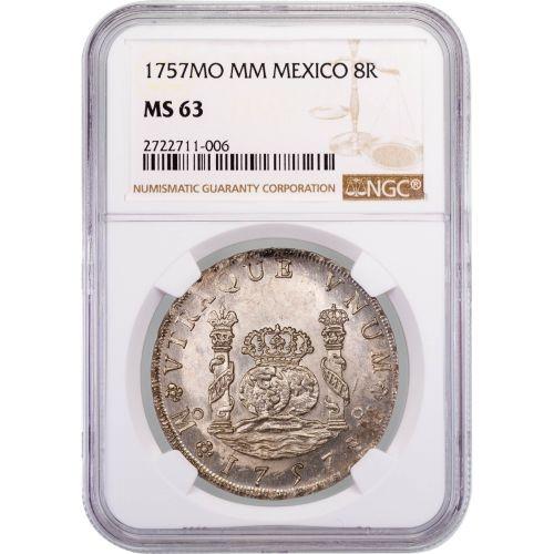 Mexico 1757 Pillar Dollar 8 Reales NGC MS63