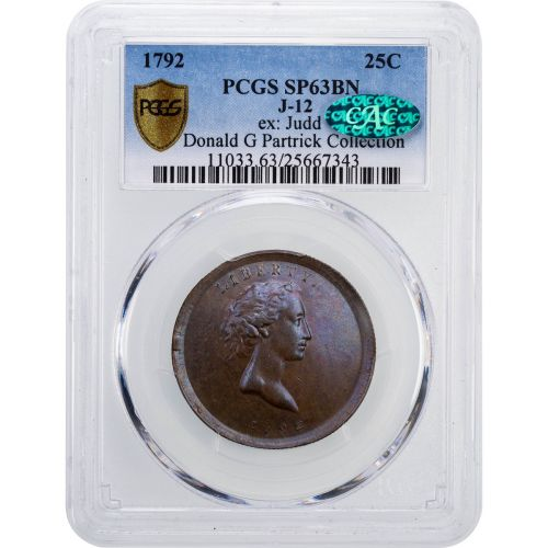 1792 Eagle-on-Globe Copper Quarter Dollar J-12 PCGS SP63BN #25667343