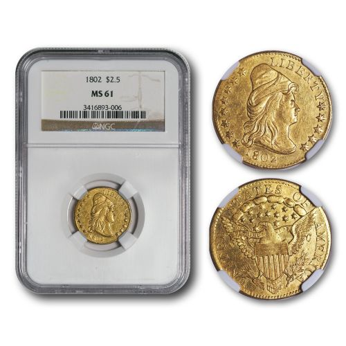 1802 Capped Bust Gold Quarter Eagle NGC MS61