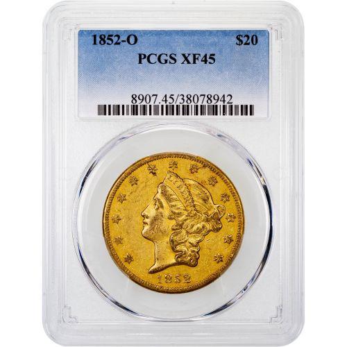 1852-O Liberty Head Gold Double Eagle XF45