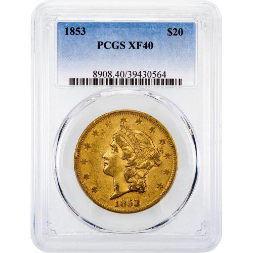 1853-P Liberty Head Gold Double Eagle XF40