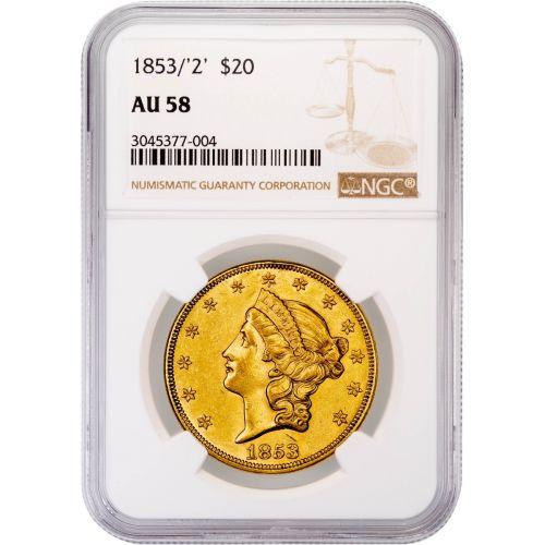 1853/2-P Liberty Head Gold Double Eagle AU58